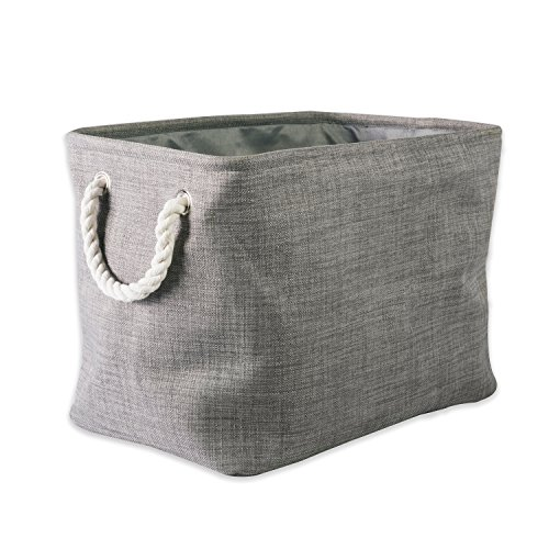 "DII Collapsible Variegated Polyester Storage Basket or Bin with Durable Cotton Handles, Home Organizer Solution for Office, Bedroom, Closet, Toys, & Laundry (Medium – 16x10x12""), Gray"