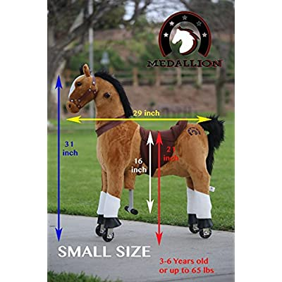 Medallion Genuine My Pony Ride On Real Walking Horse for Children 3 to 6 Years Old or Up to 65 Pounds (Color Small Brown Horse) for Boys and Girls: Toys & Games