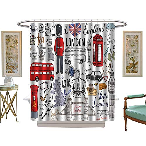 luvoluxhome Shower Curtains 3D Digital Printing London City Doodles Elements Collection Drawn Set with Tower Bridge Patterned Shower Curtain W69 x L84