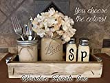 Ball Mason Jar KITCHEN Table Centerpiece SET in Antique Rustic Tray ~Salt and Pepper Shakers, Pint Vase Jar with FLOWER~Distressed Painted Jars, Accessory Holder, Green Brown Cream White Tan Blue