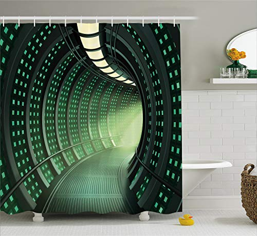 Ambesonne Outer Space Decor Shower Curtain by, Hallway of Spaceship with Futuristic Elements and Round Ceiling Design, Fabric Bathroom Decor Set with Hooks, 84 Inches Extra Long, Silver Green