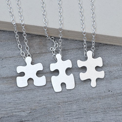 jigsaw puzzle necklace handmade in sterling silver, friendship necklace