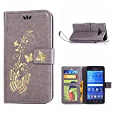 MOONCASE Galaxy Grand Prime Case, Bronzing Butterfly Pu Leather Wallet Pouch Etui Flip Kickstand Case Cover for Samsung Galaxy Grand Prime G530 Bookstyle Folio [Shock Absorbent] TPU Case with Photo Frame Grey