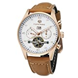 Forsining Men's Automatic Self-winding Day Calendar Leather Band Collection Wrist Watch FSG691M3W1
