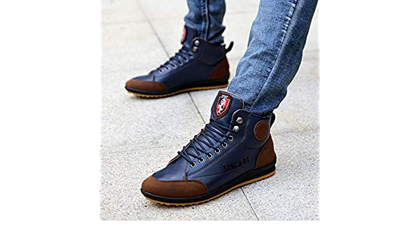Amazon.com | Men Shoes 2018 Leather Shoes Autumn Winter Lace Up Casual Sneakers Men Footwear Calzado Deportivo Hombre, Blue, 7 | Fashion Sneakers