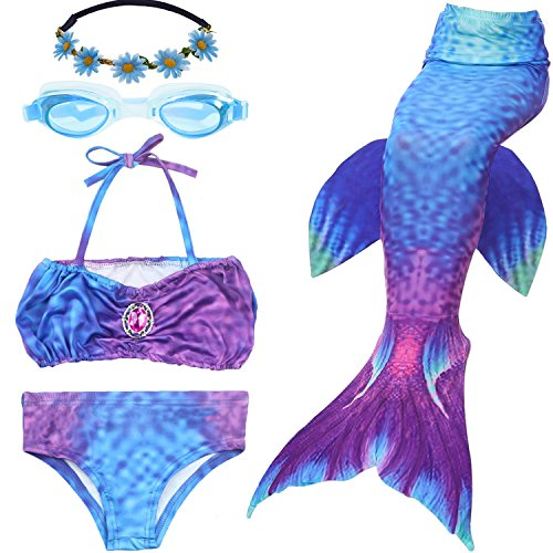 3PCS Girls Mermaid Tail Swimsuit Swimming Bikini Masquerade Pool Party Princess Costume Swimwear + Garland + Swim Goggles (US10-12/Tag150, 03 Purple) -