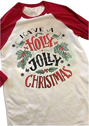 Have A Holly Jolly Christmas T-Shirt Women 3/4 Sleeve Letter Snowflake Printed Raglan Baseball Shirt Tops Size XL (Red)
