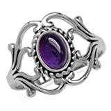 Cabochon Amethyst White Gold Plated 925 Sterling Silver Victorian Style Rope Ring Size 6
