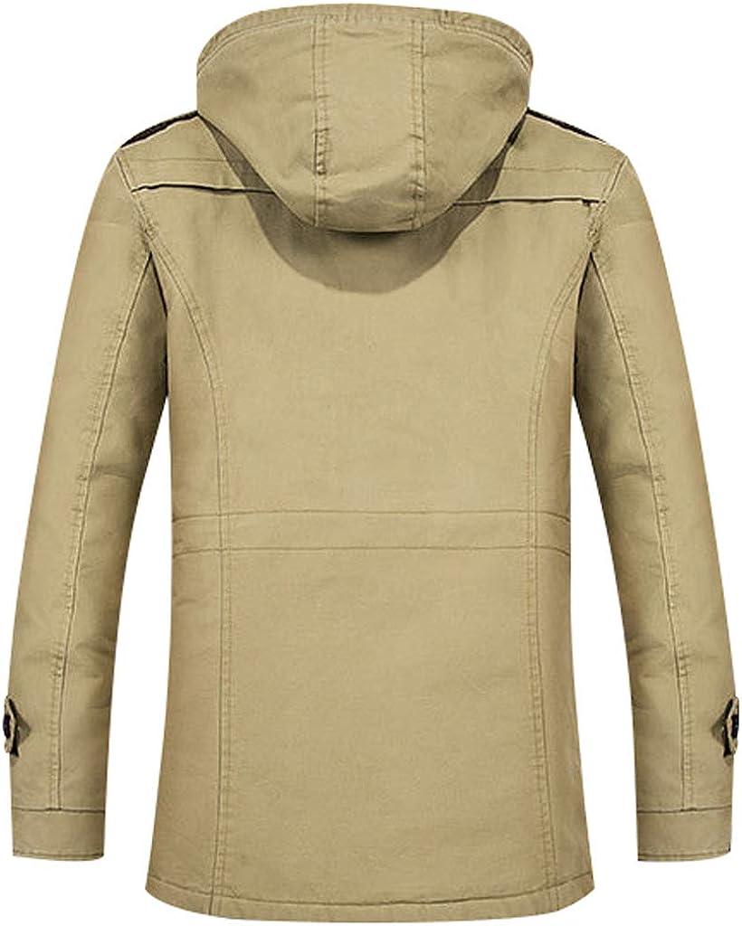 Bigasset Mens Long Sleeve Fleece Hooded Coats Thick Warm Zipped Jacket Outerwear with Multi Pockets