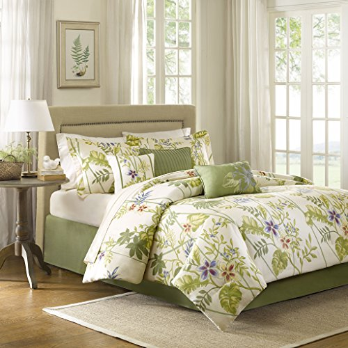 (Madison Park Kannapali King Size Bed Comforter Set Bed in A Bag - Green, Ivory, Leaf, Flowers - 7 Pieces Bedding Sets - 100% Cotton Sateen Bedroom Comforters)