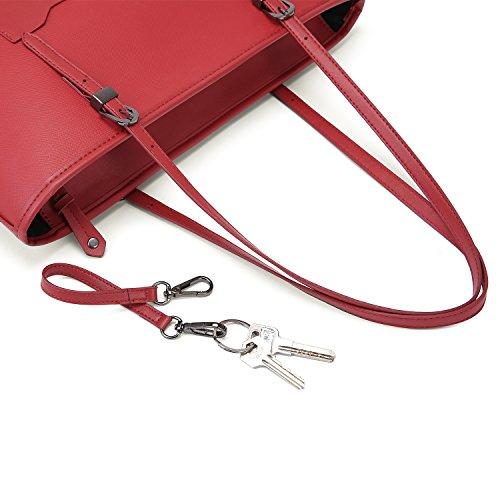ECOSUSI Damen Shopper Schultertaschen mit Schlüsselanhänger Arbeit Handtaschen Weinrot