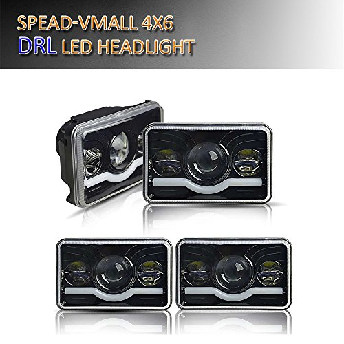 Spead-Vmall DOT Approved Rectagular 4X6 Hi/Lo Combo Beam With DRL Headlight Projector Lens Headlight Assemblies Freightliner Fld120 Peterbilt 379 Kenworth T600 W900 Chevy C10 K10 S10 H4651 H4656 Cimarron Combo