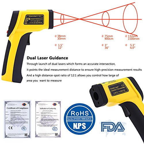 Dual Laser Infrared Thermometer, Zenic Professional Non-Contact Digital Temperature Measuring Gun with Adjustable Emissivity for Cooking / Brewing / Automobile & Industries, -50-650℃, D:S=12:1 by zenic (Image #2)