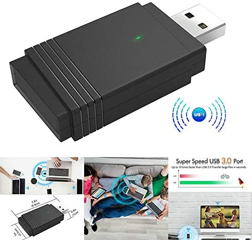 Tenrry 1200 Mbps USB 3.0 Wireless WiFi Adapter Dongle Dual Band Bluetooth 5.0 Built-in Dual Antenna