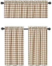 جود غرام 3 قطع. مجموعة ستائر مطبخ من القطن الأنيقة بنمط مربعات الريف ومجموعة ستارة قصيرة - ألوان متنوعة