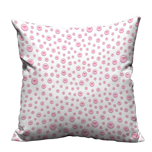 alsohome Pillow Case Cushion Cover Pattern with Large Small Baby Pink Pearls Precious Stones Nursery Bridal Print Resists Dust Mites17.5x17.5 inch(Double-Sided Printing)