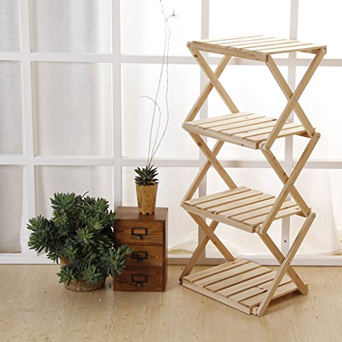 Stand Smc - SMC Flower Stand Flower Stand Fold Wood Shelf Simple Four Floors Solid Wood Bookshelf Storage Rack Flower Frame Balcony Indoor Display Stand (Color : Wood Color)