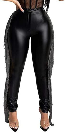 FRPE Women's Fringe High Waisted Pencil Pants Skinny Faux Leather Pants