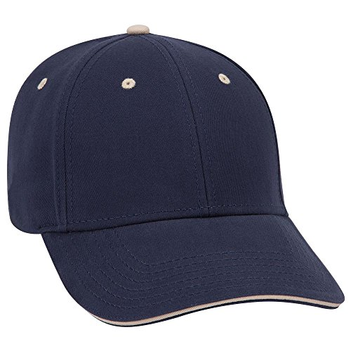 Otto Caps OTTO Brushed Cotton Twill Sandwich Visor 6 Panel Low Profile Baseball Cap - NVY/NVY/KHA Brushed Twill Sandwich