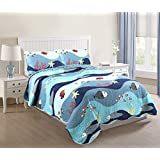 MarCielo 2 Piece Kids Bedspread Quilts Set Throw Blanket for Teens Boys Girls Bed Printed Bedding Coverlet, Full Size, Ocean Fish (Full)