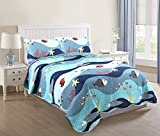 pottery barn kids bedding full - MarCielo 3 Piece Kids Bedspread Quilts Set Throw Blanket for Teens Boys Girls Bed Printed Bedding Coverlet, Full Size, Ocean Fish (Full)