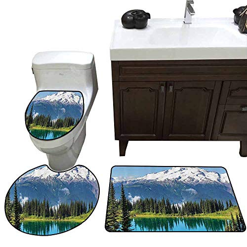 U-Shaped Toilet Floor Rug Set Cottage Decor Collection Scenery of Image Lake and Snowy Glacier Peak in Washington USA with Tall Pine Tree Forest Printed Rug Set White Blue Green