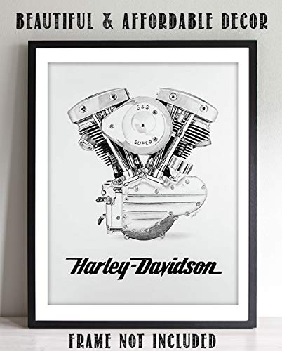 Harley Davidson Room Decor (Harley Davidson Motorcycle Engine Print- 8 x10 Wall Decor- Ready To Frame. Harley Davidson Gifts- Home Decor- Office Decor. Great for Man Cave- Game Room- Bar- Garage. Black & White)