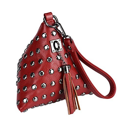 Sac Embrayage Rouge À Triangle Gland Bourse Pièce La Rivets Main Main Petites Femmes Fête De Feitong 0BfZqr0w