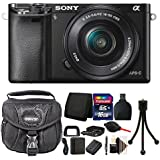 Sony Alpha A6000 Mirrorless Digital Camera Black with 16GB Top Accessory Bundle