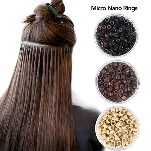 Beauty On Line 200Pcs Beads Silicone Aluminium Micro Nano Rings 3mm Lined For I Tip/Nano Hair Extensions Tool Beads (Brown)
