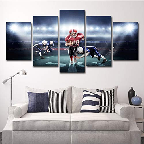 HOODE Wall Art Unframed 5 Panels American Football Rugby Match Pictures Print On Canvas Posters (No Frame) for Home Living Room Bedroom Decorations Gift ()