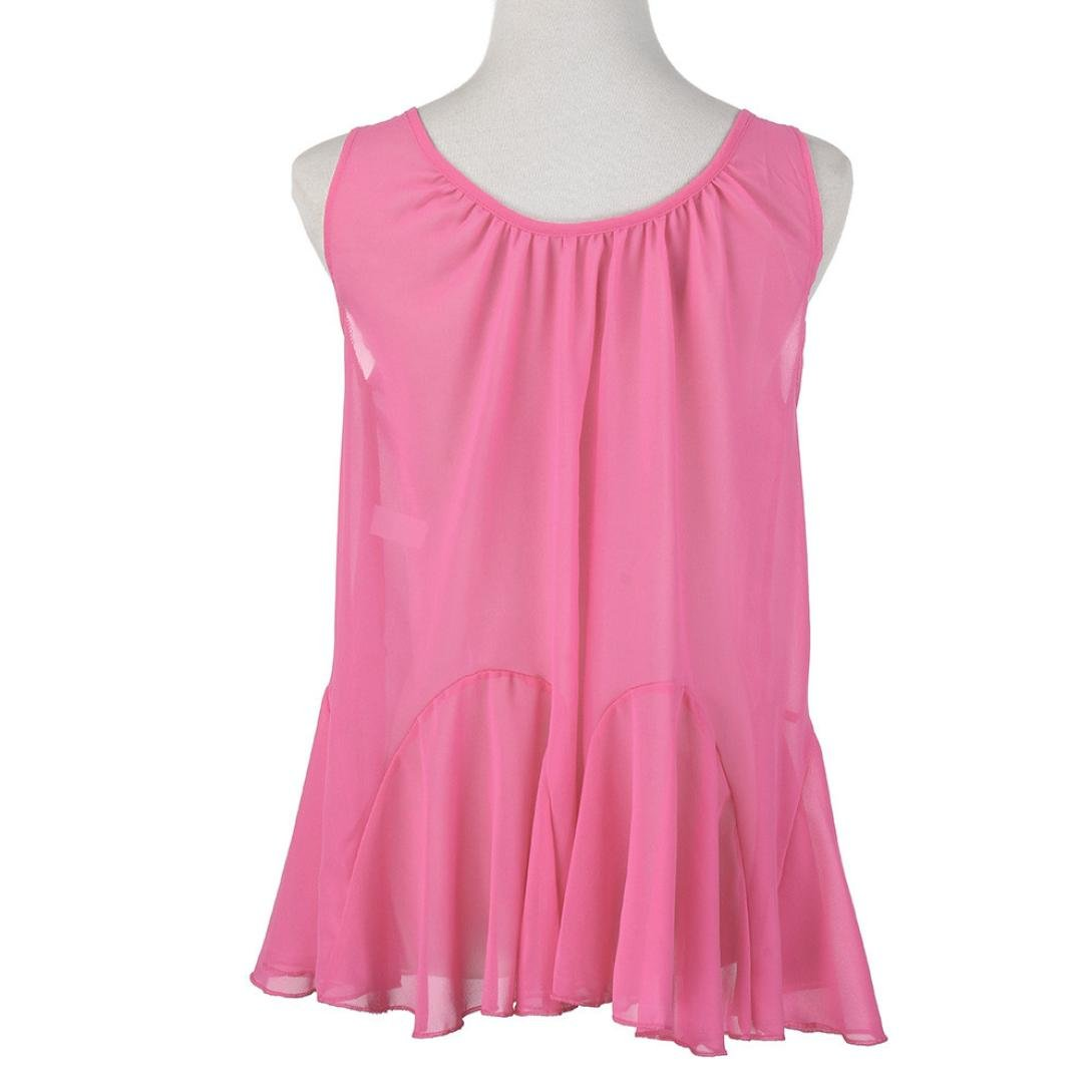 b704105f1f89 Alluing Breathable and Comfortable Womens Plus Size Chiffon Vest Shirt  Sleeveless Blouse Casual Tank Tops T-Shirt at Amazon Women's Clothing store: