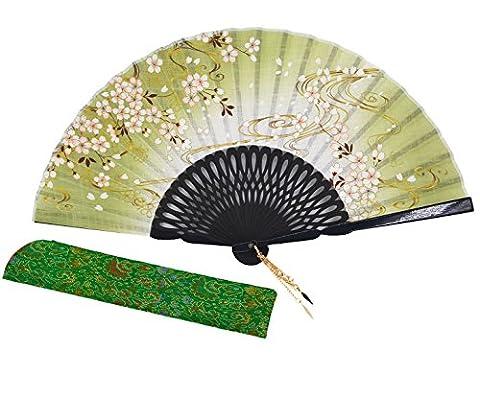 Meifan Chinese /Japanses Classical Handmade Vintage Folding Bamboo Silk Flower Pattern Hand Fan (Green)