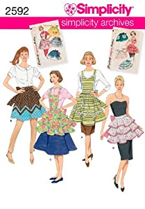 Old Fashioned Aprons & Patterns Simplicity Sewing Pattern 2592 Aprons A (S-M-L) $3.70 AT vintagedancer.com