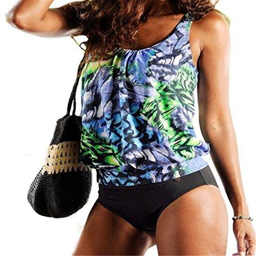 Pirate Split Bikini Badeanzug Sexy Bademode Dame gedruckt Grün z6MvW