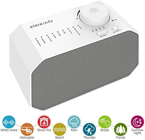 White Noise Machine for Sleeping & Relaxation, ETEREAUTY Sound Machine for Baby/Kids/Adults with 9 Soothing All-Natural Sounds, Auto-Off Timer and USB Output Charger for Home, Office or Travel, White
