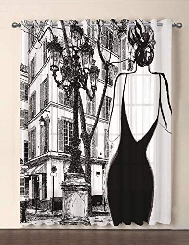 One Panel Extra Wide Sheer Voile Patio Door Curtain,Paris City Decor,Young Elegant Woman in a Black Dress in Paris Street Old Building Facade Cityscape,for Sliding Doors(108