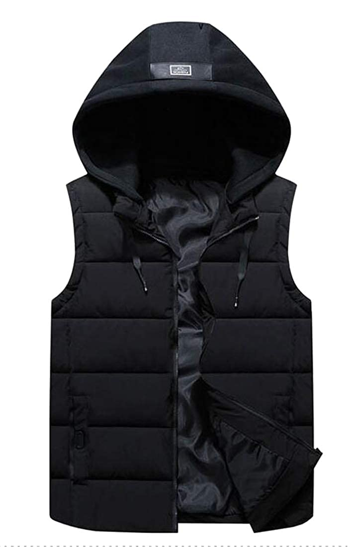 YYG Mens Winter Color Block Warm Plus Size Thickened Hooded Down Coat Vest Waistcoat