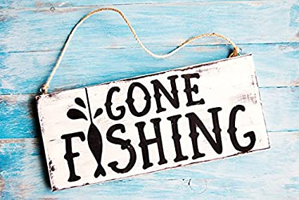 Shabby Chic Kitchen Signs : Amazon.com: hiusan gone fishing beach wood signs shabby chic home
