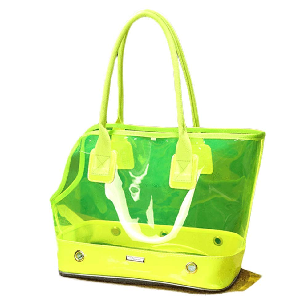 GREEN YONGYONG Fashion Transparent Pet Bag Cat And Dog Out Bag Dog Portable Portable Breathable Bag (color   GREEN)