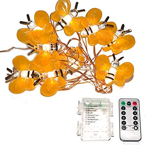 Honeybee Decor String Lights - Copper Wire - Remote Control, Waterproof 14.5Ft/40Leds, for DIY Bedroom, Patio, Xmas, Wedding, Parties, 3xAA Battery Operated (NOT Included) [並行輸入品] B07RBPBFDT
