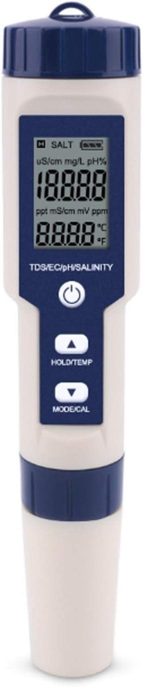 medidor de prueba de calidad del agua PH Salinity EC Tester con luz de fondo piscina agua potable para acuicultura Probador de calidad del agua 5 en 1