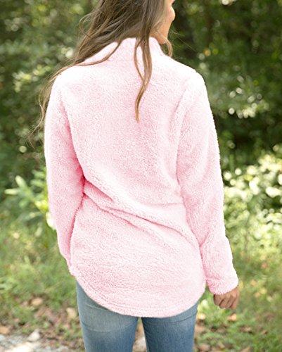 Femme Hirsute Sweat-shirt Rose à Manches Longues Casual Pullover Zipé Top Blouse pour Autome-Printemps