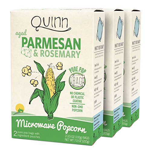- Quinn Snacks Microwave Popcorn - Made with Organic Non-GMO Corn - Great Snack Food for Movie Night - Parmesan & Rosemary, 7 Ounce (3 Count)