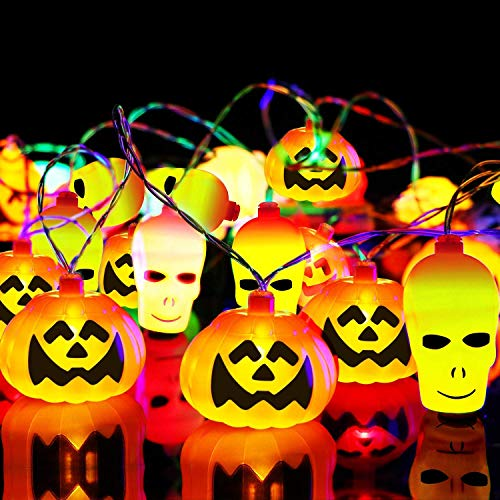 SHEOO Halloween Lights Decoration Pumpkin String Light - 32 LED 22 Feet Battery Powered - 3D Orange Pumpkin, White Spooky Skull Hanging Lights Operated for Indoor/Outdoor Halloween Decoration Party