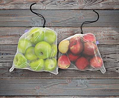 Reusable Produce Bags | Bulk Set of 9 | Keeps Vegetables Fresh | Made of See Through Mesh Polyester