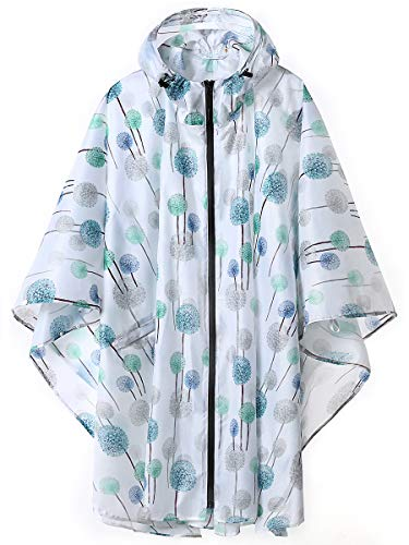 (Unisex Stylish Rain Poncho Zipper Up Raincoats with Pockets for Women/Men Dandelion)