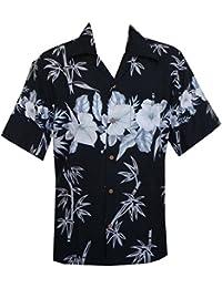 Hawaiian Shirts Mens Bamboo Tree Print Beach Aloha Party Holiday