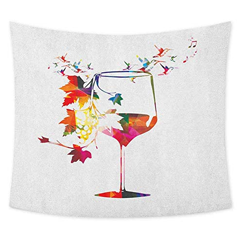 jecycleus Winery Tie Dye Tapestry Wall Hanging Wine Glass with Colorful Imaginary Growing Leaves Aroma Sommelier Relax Joy Artsy Wall Art for Living Room Hanging W70.5 x L59 Inch Multicolor (Wine Dye Glasses Tie)