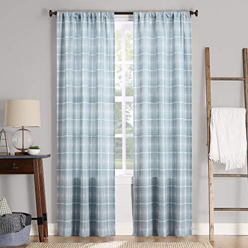 "No. 918 Sebastian Plaid Semi-Sheer Rod Pocket Curtain Panel, 40"" x 84"", Aqua"